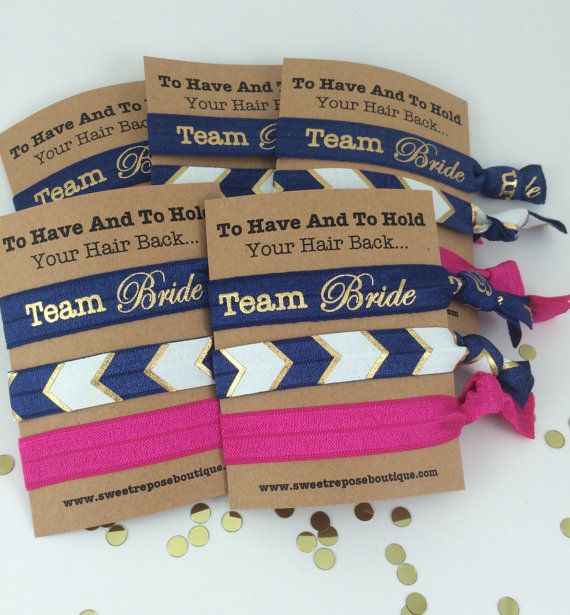 Team Bride! These hair tie favors are the perfect way to thank your favorite ladies for celebrating with you! Wear them on your wrists for