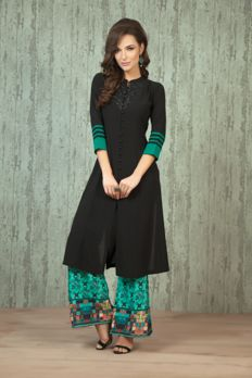 Georgette kurta embellished with sequence work with crepe digital print palazzo from #Benzer #Benzerworld #IndoWesternWear #womenswear