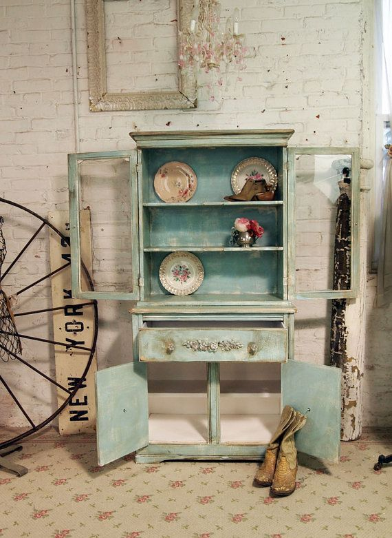 Painted Cottage Chic Shabby Aqua One of a KInd China Cabinet CC294