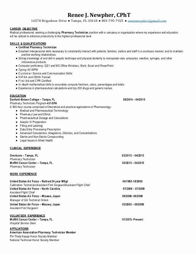 Pharmacy Technician Resume Objective Lovely Cpht Pharmacy Technician Resume 2015 Renee Newpher In 2020 Pharmacy Technician Medical Resume Resume Examples