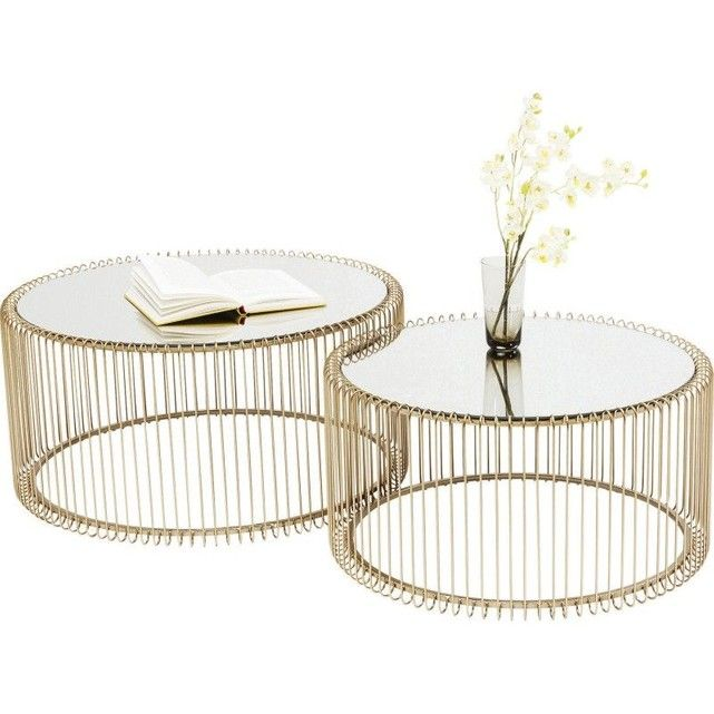 Tables Basses Rondes Wire Laiton Set De 2 Table Basse Ronde Table Basse En Laiton Et Table Basse