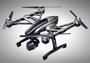 Typhoon Q500 4K Drone -  Yuneec's Typhoon Q500 is a compact, 22-inch long 4K ultra HD drone with features like a 3-axis Gimbal, automatic home return, iPhone & Android real-time streaming, & a battery that delivers 25-minutes of continuous flying. | werd.com