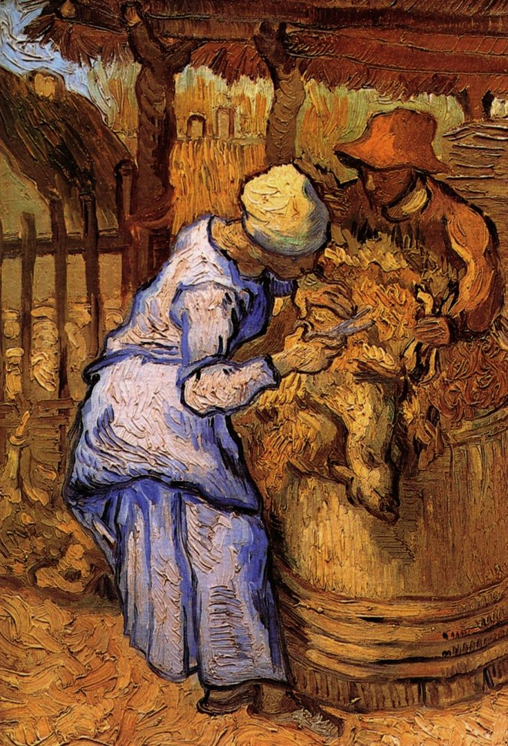 Sheep-Shearers, The after Millet - Vincent van Gogh  - Painted in Sept 1889 while in the Saint-Rémy Asylum - Current location: Van Gogh Museum, Amsterdam, Netherlands ................#GT