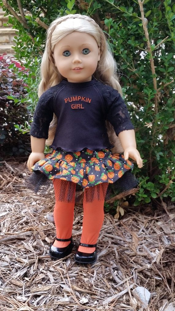 American Girl Halloween Pumpkin Costume Skirt, Top, Tights for Girls and Collectors