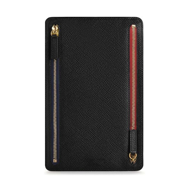 Panama Zip Currency Case in black calf leather | Smythson