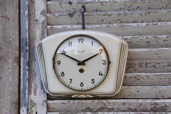 French Vintage Ironstone Kitchen Wall Clock Cream Porcelain Etsy Vintage Ironstone Wall Clock Kitchen Wall Clocks