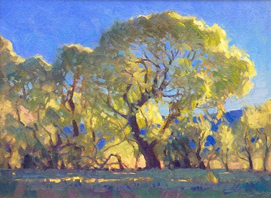 Robert Goldman - COTTONWOODS AT DUSK- Oil on Canvas - Painting entry - December 2015 | BoldBrush Painting Competition