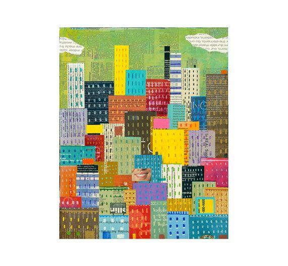abstract skyline abstract cityscape 8x10 por ElizabethRosenArt