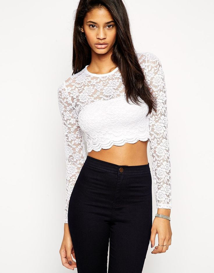 ASOS Cropped Top With Long Sleeves In All Over Lace 305 kr