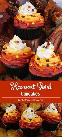 Harvest Swirl Cupcakes - Topped with beautiful Buttercream Frosting in Fall colors, these would be perfect for a Fall Bake Sale or as a Thanksgiving dessert -- Thanksgiving & Fall Desserts : For Love Of Dessert