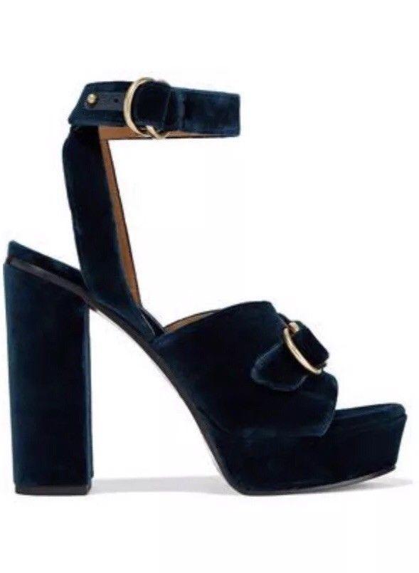 e08c1948546 New Chloe Kingsley Navy Blue Velvet Platform Heels Shoes 38 8 Barneys New  York  fashion