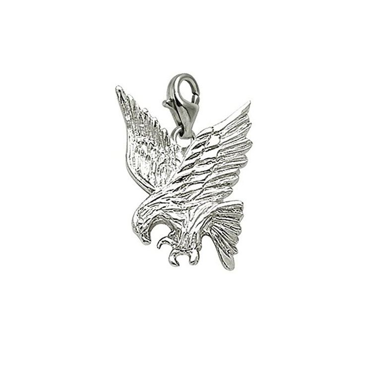 Sterling Silver Eagle Charm With Lobster Claw Clasp, Charms for Bracelets and Necklaces. handcrafted High Polish Finish. Lifetime Guarantee. Dimensions: 25.33 MM long x 21.14 MM wide. 30 Day Money Back Guarantee. Rhodium-Plated, 3 Dimensional.