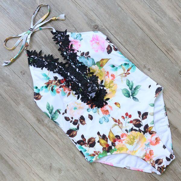 One Piece Swimsuit 2017 Sexy Swimwear Women Bathing Suit Swim Vintage Beach Wear Print Bandage Push up Monokini Swim Suit