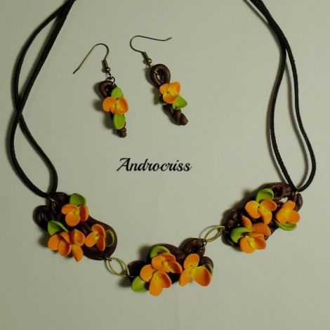 Orange spring-set bijuterii