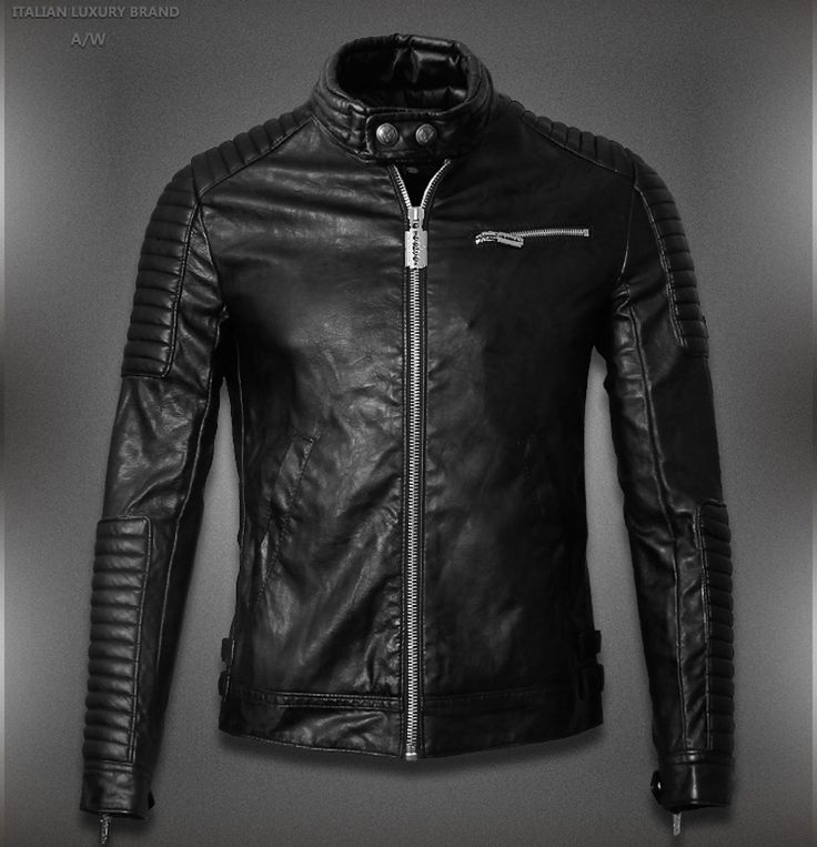 2015 Hot Sale Mens Leather Jackets And Coats Jaqueta De Couro Masculina Famous Brand Men Designer Leather Ribbed Biker Jacket