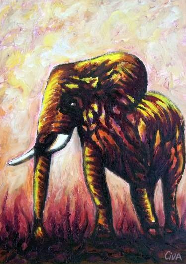 "Saatchi Art Artist Dan Civa; Painting, ""Big elephant (2016 no. 12.)"" #art"