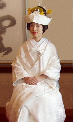 Japanese women wear white wedding kimonos called shiro-maku, meaning white and pure. The symbolism is much like the western culture of wearing a white bridal gown.