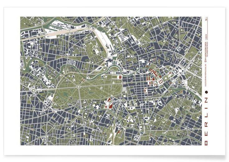 BERLIN engraving als Premium Poster von Planos Urbanos   JUNIQE