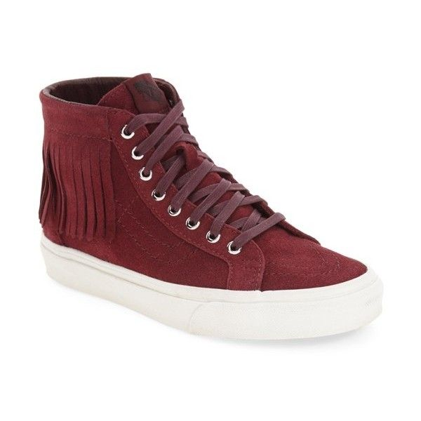Women's Vans 'sk8-Hi' Moc Sneaker ($80) ❤ liked on Polyvore featuring shoes, sneakers, burgundy suede, hi tops, suede high top sneakers, fringe sneakers, high top trainers and vans shoes