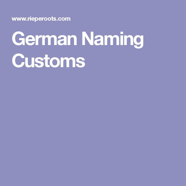 German Naming Customs