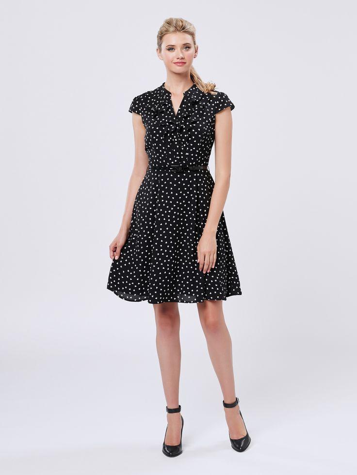 Happy Heart Dress   Black & Cream   Dresses