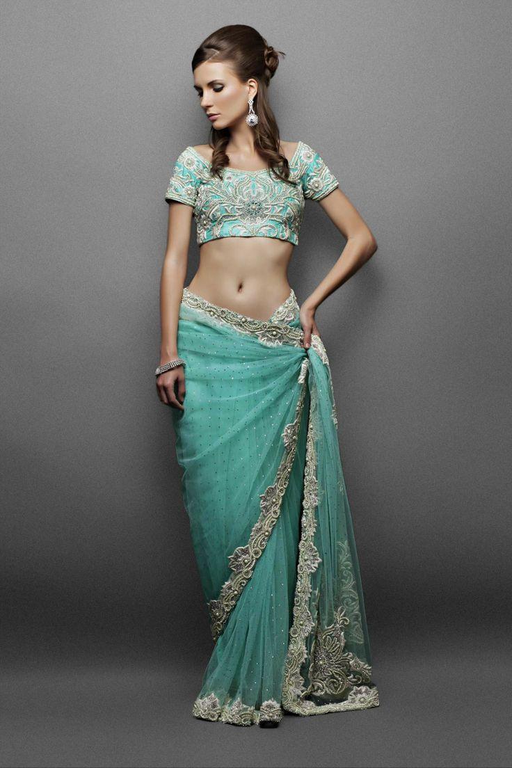 Party Wear Sarees- Light aqua net sari with elaborate pearl embroidery