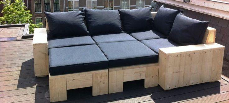 Loungebank steigerhout (jaaaaaa... zo moet het worden!!)