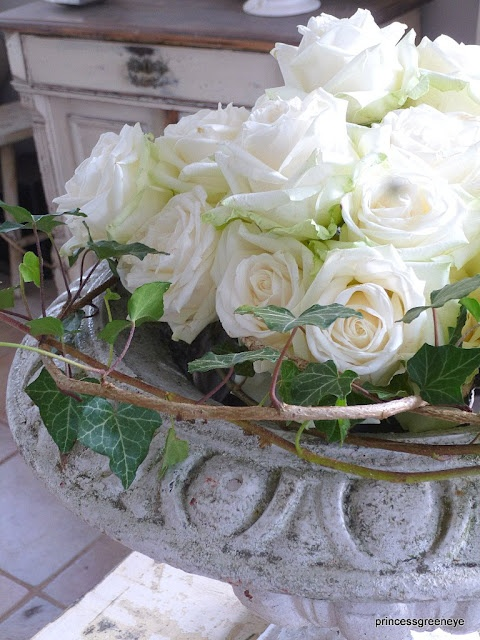 roses in an old urn...