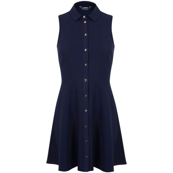 Miss Selfridge Petite Navy Shirt Dress ($50) ❤ liked on Polyvore featuring dresses, navy, petite, women, shirt-dress, long shirt dress, shirt dress, navy dress and blue shirt dress
