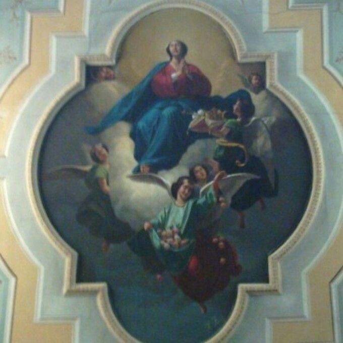 Gagliato, la volta della chiesa. Opera: olio  su tela.