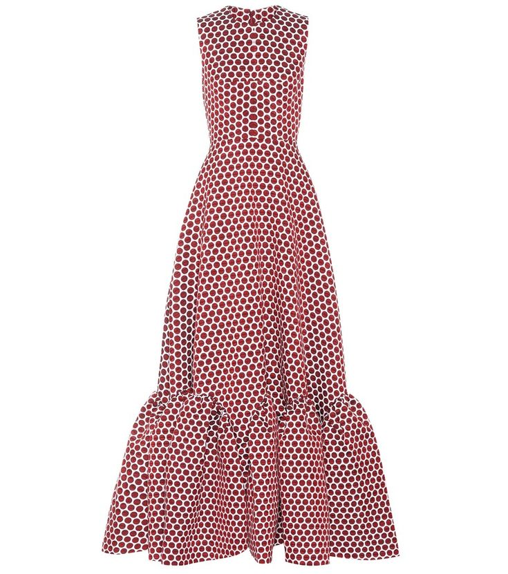 Huishan Zhang - Sleeveless polka-dotted dress - Huishan Zhang's sleeveless dress puts us in a retro mood thanks to the red polka dots covering this piece. This design is fitted at the waist before dropping into a flounce-hem skirt. Team yours with shimmering pumps. seen @ www.mytheresa.com