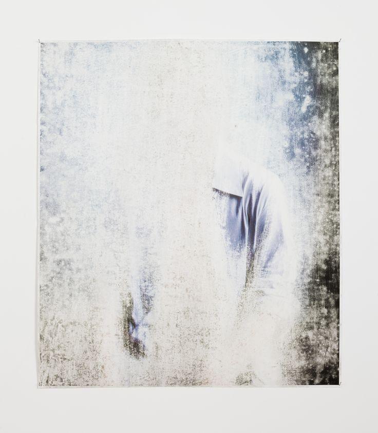 Blue Shoulder, Sandpaper abrasion on paper print,  91 x 117 cm. Anat Ebgi, Los Angeles, 2013 ( photo: Michael Underwood)
