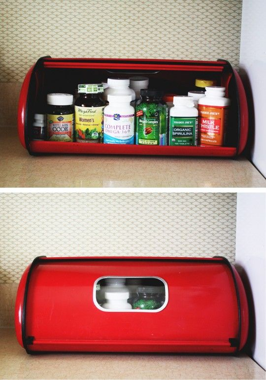 Bread box as pill bottle storage - keep kitchen looking nice.