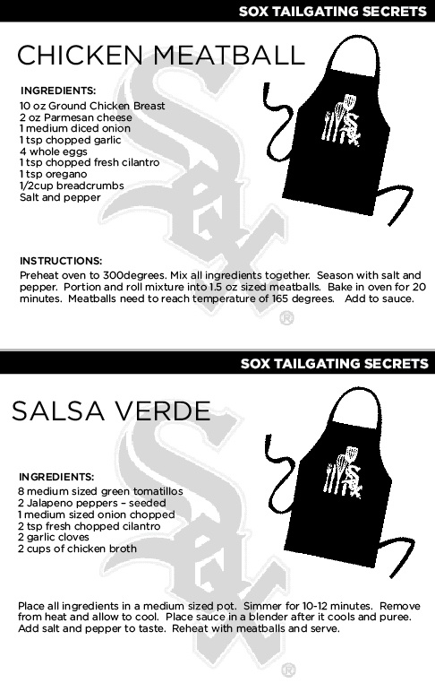 @Chicago White Sox Chef Olegario's Chicken Meatballs with Salsa Verde recipe.