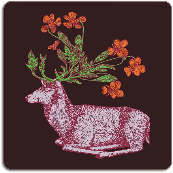 Avenida Home Puddin' Head - Animaux Placemat - Deer ($16) ❤ liked on Polyvore featuring home, kitchen & dining, table linens, brown, flower placemats, colored placemats, brown placemats, heat resistant placemats and flower stem
