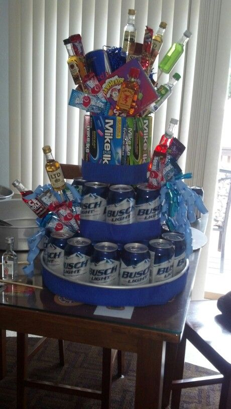Boyfriends birthday cake! Change beer to water and add favorite snacks