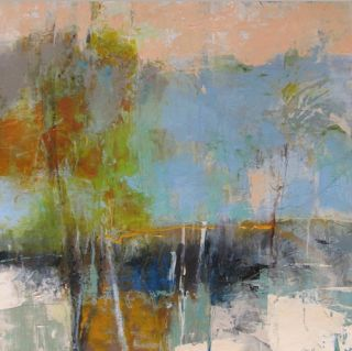 """Mixed Media Artists International: Abstract Landscape Mixed Media Painting """"Gold Horizon"""" by Intuitive Artist Joan Fullerton"""