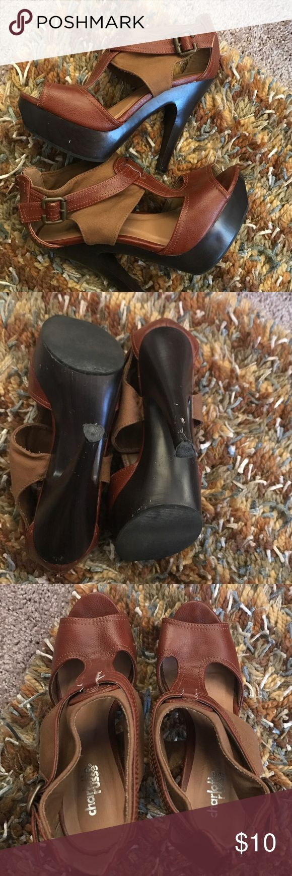 Brown Charlotte Russe Wooden Platform Heels Trendy platform heels. Wooden-look bottom. Worn a few times but still in good condition minus a couple scuffs on inner heel (not visible while wearing). Charlotte Russe Shoes Heels