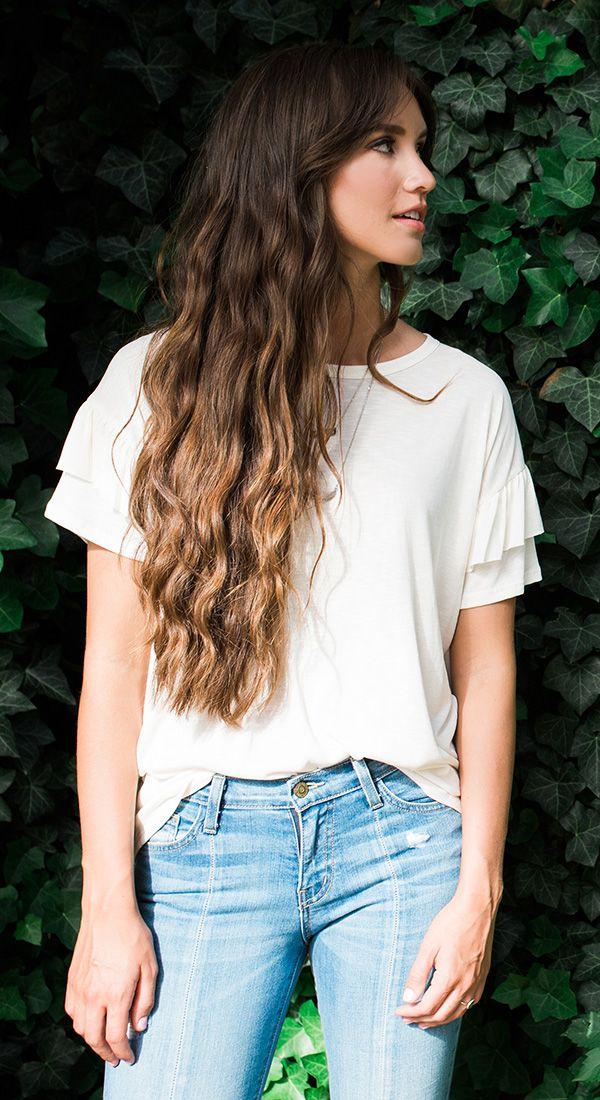 ruffle short sleeve | white | casual | light jeans | long haired brunette | soft natural highlight | waves