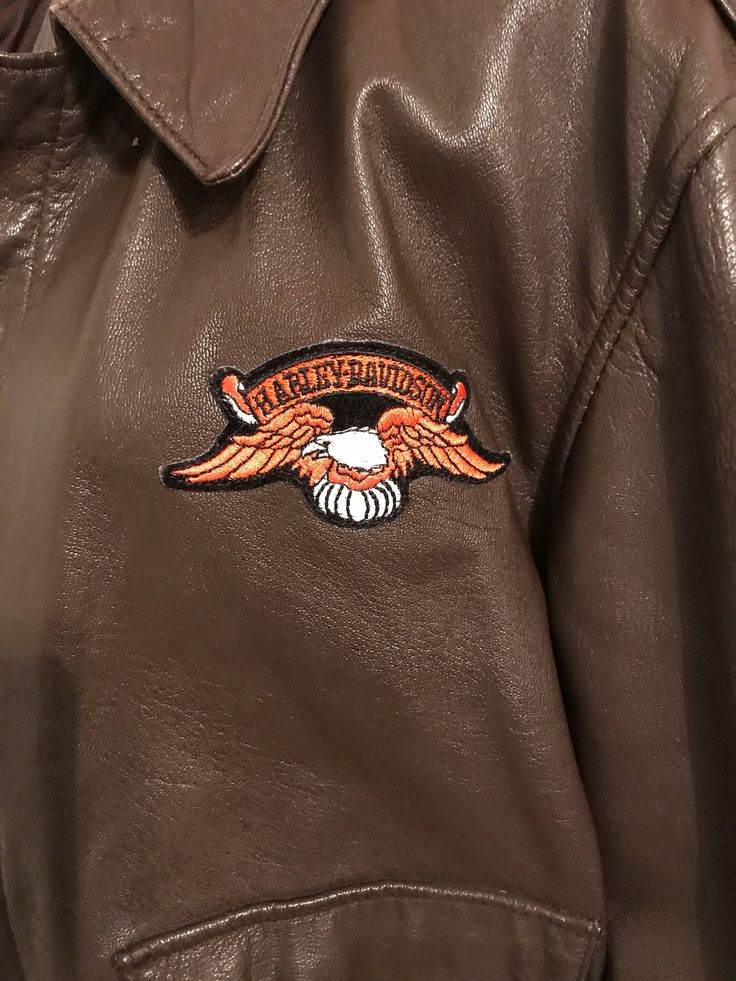 Vintage Cooper type A.2 Genuine goatskin brown leather bomber size 40R / customized with Harley Davidson patch! by fancydollhouse on Etsy https://www.etsy.com/listing/550379646/vintage-cooper-type-a2-genuine-goatskin