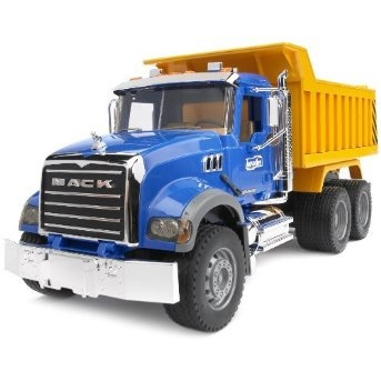 This Classic Mack Granite dump truck from Bruder will provide your budding contractor a load of fun. It features intricate details such as a cab that opens to reveal the engine, folding side-view mirrors, doors that open and a working dump bed. Dump bed inclines and back gate swivels open when dumping and returns to upright position. Real tread tires. ABS plastic construction. 20 15/16in.L x 7 5/16in.W x 8 15/16in.H. $56.22 #kidstoys #trucks #construction #fun #bruder