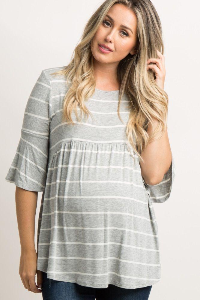 f5e00c1a1d271 Heather Grey Striped Peplum Maternity Top