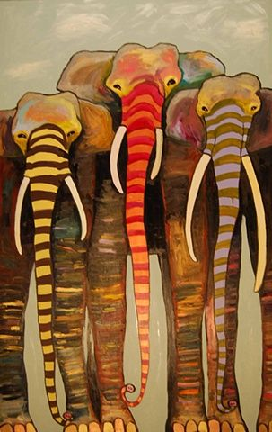 Painted Elephant Trio with Gold and Copper Toes under Clouds by Eli Halpin
