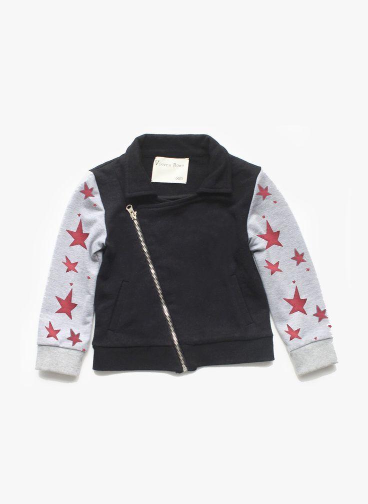 Vierra Rose Velo Asymmetrical Jacket in Black/Star Sleeve