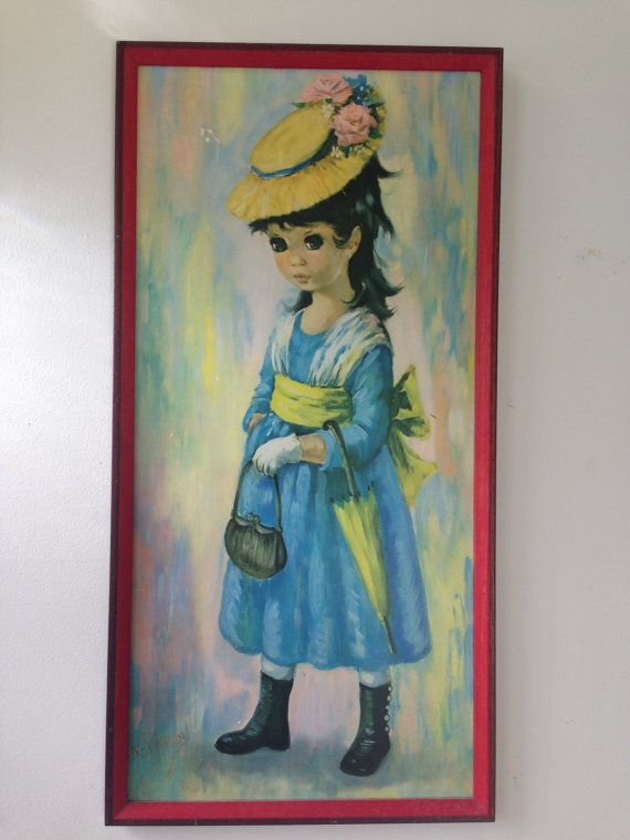 Vintage Little Girl With Bag and Umbrella by QueSeraVintageGoods, $28.50
