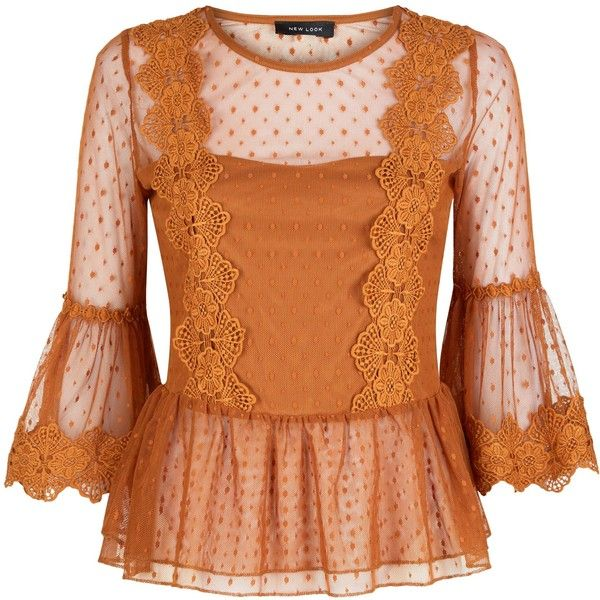 Rust Bell Sleeve Double Peplum Lace Top ($36) ❤ liked on Polyvore featuring tops, blouses, lacy tops, lace peplum top, peplum tops, bell sleeve tops and flared sleeve blouse