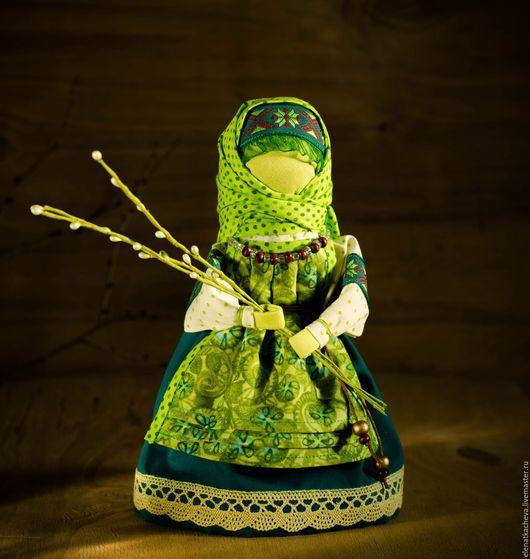 """Народные куклы ручной работы. Ярмарка Мастеров - ручная работа. Купить Народная кукла-оберег """"Вербное Воскресенье"""". Handmade. Зеленый"""
