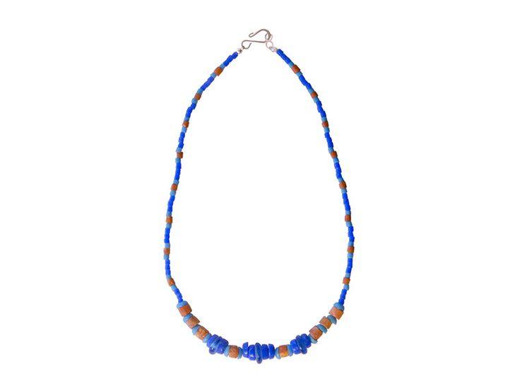Kralen Ketting - Ghanese blauwe ketting met bauxiet kralen