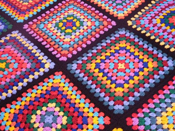 Crochet Granny Square Afghan Colourful Twelve Square by lulaveggie, $70.00