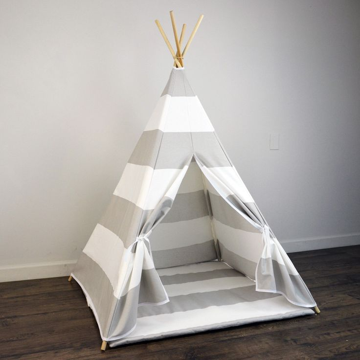 Kids Play Teepee and Play Mat in Light Gray and White Large Horizontal Stripe Canvas by PlayTeepee on Etsy https://www.etsy.com/listing/240600600/kids-play-teepee-and-play-mat-in-light